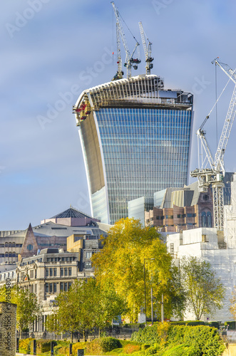 London autumn view of financial city