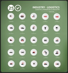 Transport and Logistics icons on blackboard background,vector