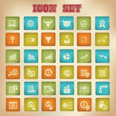 Business and analysis icons,Vintage version