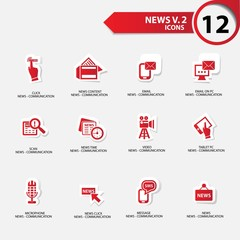 News icon set 2,red version vector
