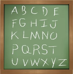 Alphabet drawing on blackboard background,vector