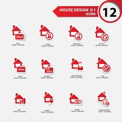 House icons,Red version