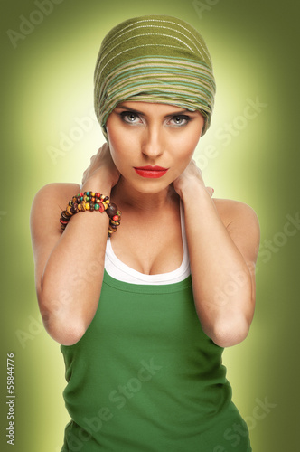Beautiful young woman with headscarf