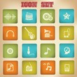 Music vintage icons,set 1,vector