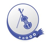 Violin on blue button,White background,vector