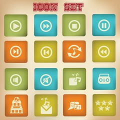 Music vintage icons,set 3,vector