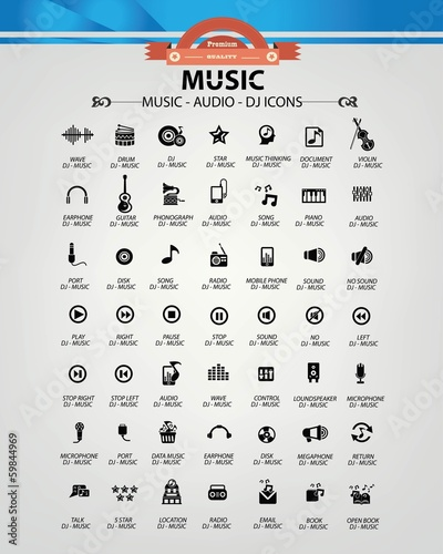 Music,Audio,Dj icons,vector