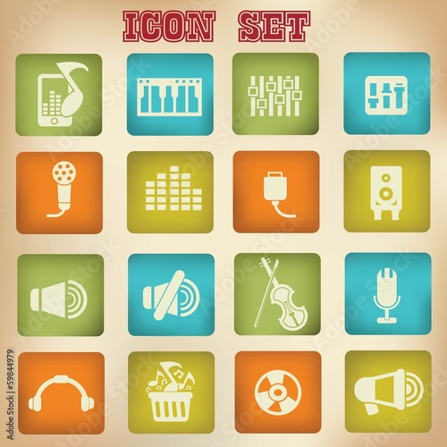 Music vintage icons,set 2,vector