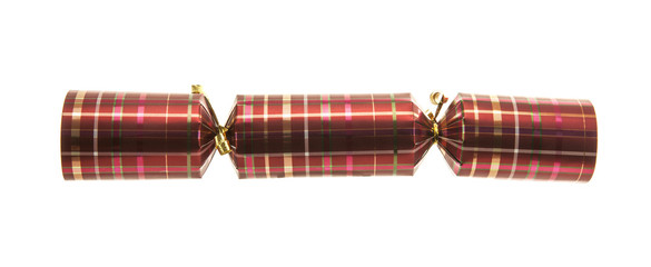 Christmas Cracker with tartan pattern Isolated on white backgrou