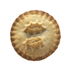 Christmas mince pie on a white background