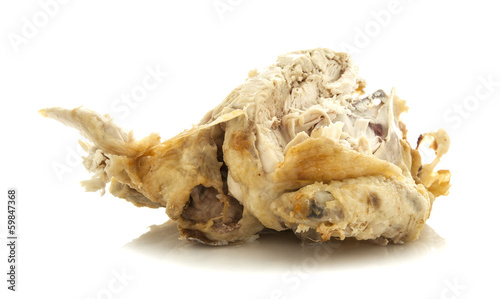 Half Eaten Rost Chicken on white background