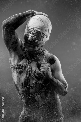 Liberty, Slave concept, man bound, chains, prison