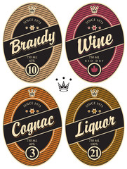 set of retro labels for various alcoholic beverages