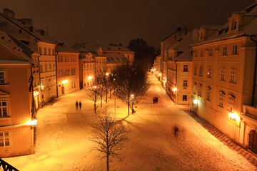 Evening romantic snowy Prague Island Kampa, Czech republic