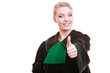 Young female lawyer attorney showing thumb up hand sign
