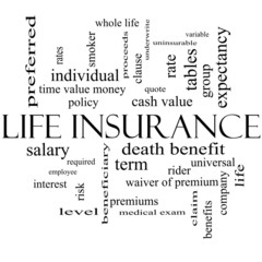 Life Insurance Word Cloud Concept in black and white