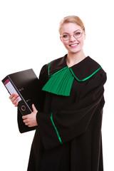 female lawyer wearing classic polish black green gown