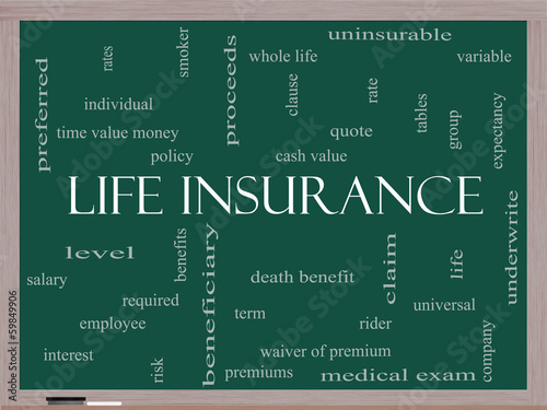 Life Insurance Word Cloud Concept on a Blackboard