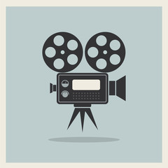 Video Movie Camera on Retro Background
