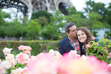 Couple in Paris on a spring day