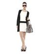 beautiful stylish girl in fashion stylish with bag posing