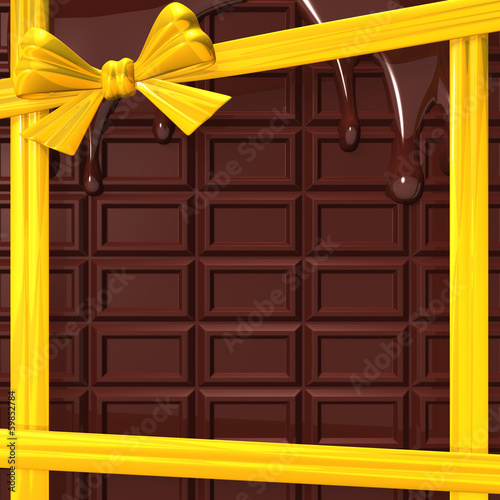 MeltingChocolateWithYellowRibbonForBackground