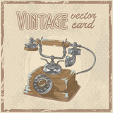 Retro 50s phone stylish vintage postcard