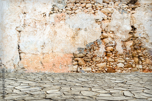 Old vintage stone street wall background or texture