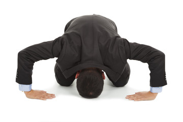 businessman apologize with japanese kneeling position