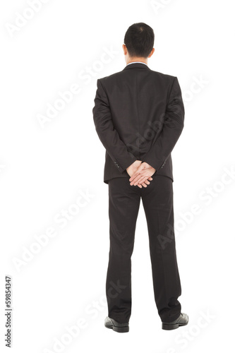 businessman standing back to looking forwand
