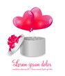 Valentines Day Card with Gift Box and Heart Shaped Balloons, Vec
