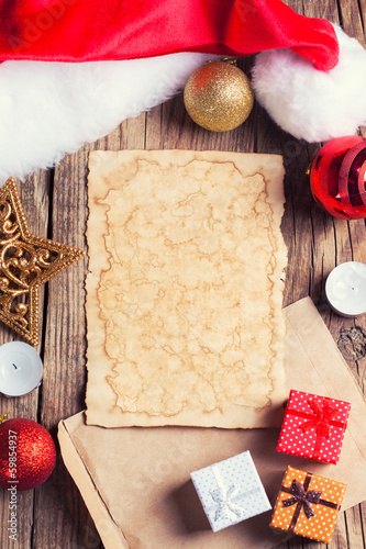 sheet of vintage paper with christmas decoration