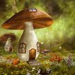 Kolorowy domek z grzyba na łące