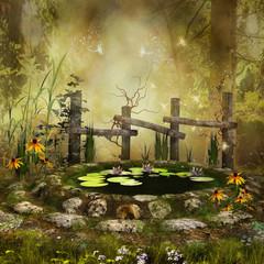 Zaczarowany staw w lesie