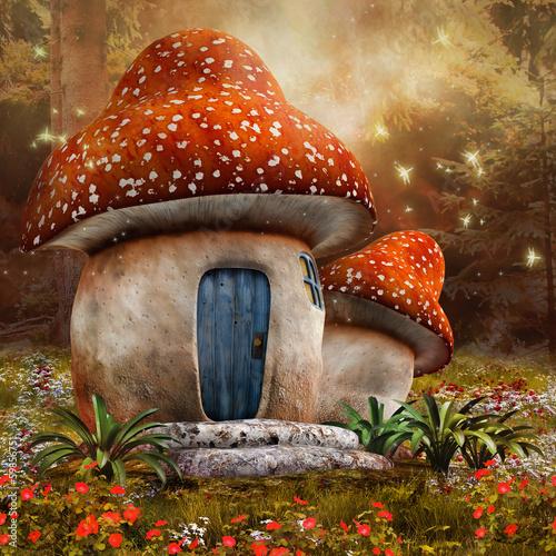 Fototapety, obrazy : Baśniowy domek z muchomora