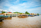 Tourist port is  tp. My Tho in Mekong, Vietnam.