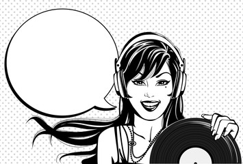 Vintage dj woman