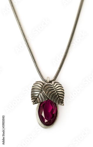 ruby pendant with chain