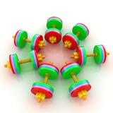 Colorfull realistic dumbbells