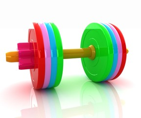 Colorfull realistic dumbbell