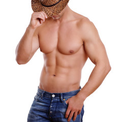 Mann in Jeans mit Cowboyhut