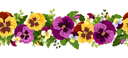 Horizontal seamless background with pansy flowers. Vector.