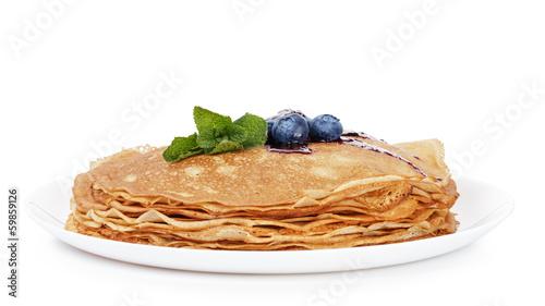 traditional homemade blinis or crepes