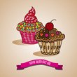 Cup cake For Valentine's day Hand drawn vector