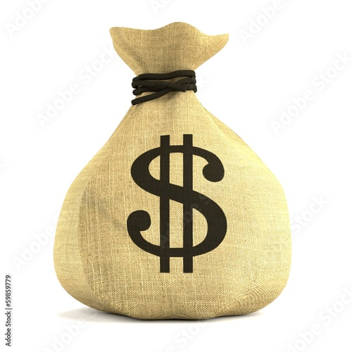 realistic 3d render of money bag