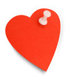 Heart shape sticky note and pin, isolated - Valentines Day remin