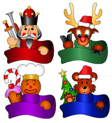 Nutcracker, Rudolph, Teddy Bear, Biscuit Man