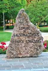 Milestone signaling the Corazza Park in Italy