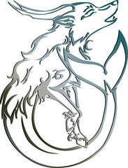 Illustration - Silver capricorn Astrology sign Vector zodiac