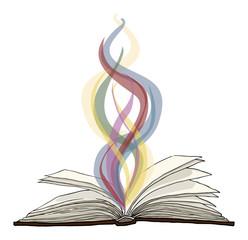 Magic of reading, vector illustration